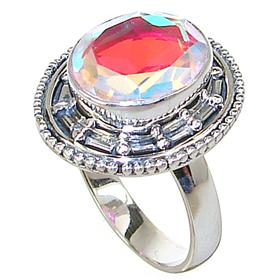 Madagascar Fire Quartz Sterling Silver Ring size P