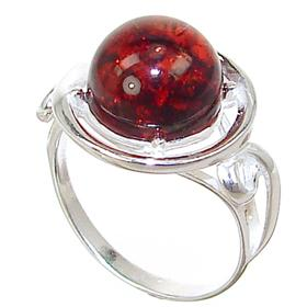 Baltic Amber Sterling Silver Gemstone Ring size M 1/2