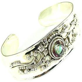 Mystic Topaz Sterling Silver Bangle Bracelet