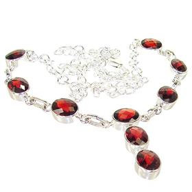 Garnet Sterling Silver Necklace 20 inches long