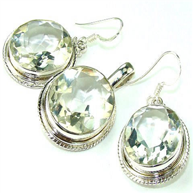 Topaz Sterling Silver Set. Silver Gemstone Set.