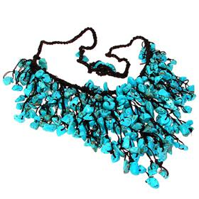 Chunky Created Turquoise Necklace 18 inches long