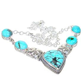 Chunky Turquoise Sterling Silver Necklace 18 inches long