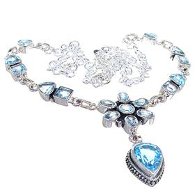 Chunky Blue Topaz Sterling Silver Necklace 20 inches long