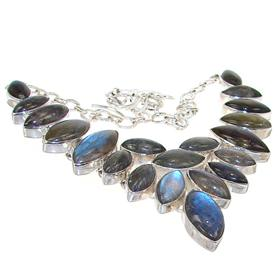Chunky Fire Labradorite Sterling Silver Necklace 18 inches long