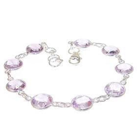 Chunky Amethyst Sterling Silver Bracelet