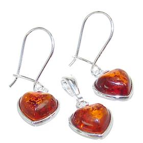 Baltic Amber Heart Sterling Silver Set