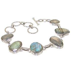 Chunky Fire Labradorite Sterling Silver Bracelet