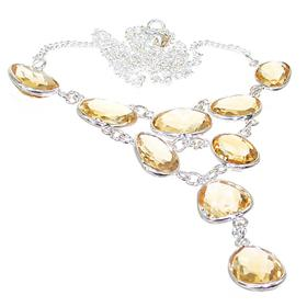 Stunning Citrine Sterling Silver Necklace 18 inches