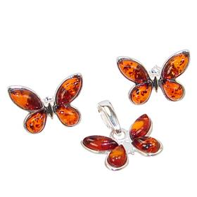 Baltic Amber Butterfly Sterling Silver Set