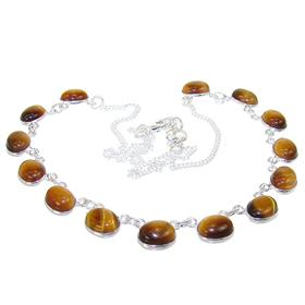 Breathtaking Tiger Eye Sterling Silver Necklace 18 inches long
