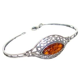 Baltic Amber Sterling Silver Bangle Bracelet