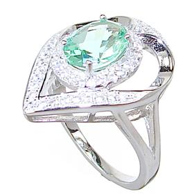 Green Quartz Sterling Silver Ring size P 1/2