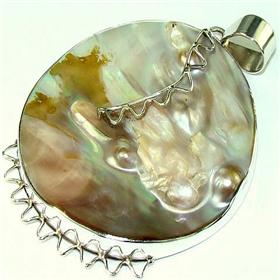 Atlantic Ocean Shell Sterling Silver Pendant. Silver Gemstone Pendant.