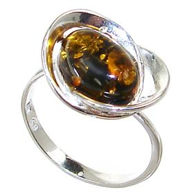 Baltic Amber Sterling Silver Gemstone Ring size Q 1/2