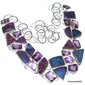 Amethyst, Titanum Druzy Sterling Silver Necklace 18 inches long