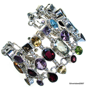 Smoky Quartz, Garnet, Peridot, Citrine, Amethyst, Sterling Silver Bracelet. Silver Gemstone Bracelet