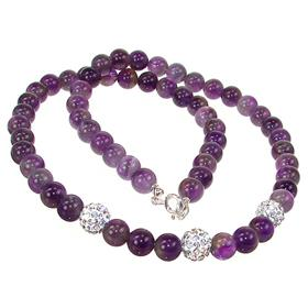 Amethyst Sterling Silver Necklace 17 inches long