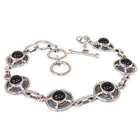 Chunky Black Onyx Sterling Silver Bracelet