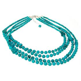 Chunky Created Turquoise Necklace 16 inches long