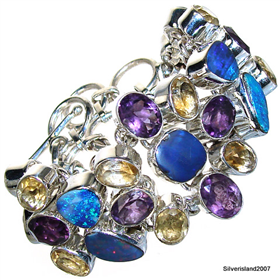 Citrine, Fire Opal, Amethyst Sterling Silver Bracelet. Silver Gemstone Bracelets.