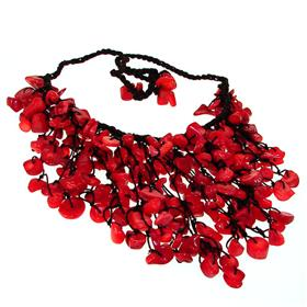 Chunky Red Coral Necklace 16 inches long