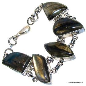 Fire Labradorite Sterling Silver Bracelet. Silver Gemstone Bracelets.