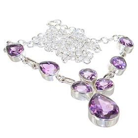 Royal Amethyst Sterling Silver Necklace 20 inches long
