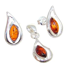 Baltic Amber Sterling Silver Set