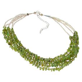 Chunky Peridot Fashion Necklace 20 inches long