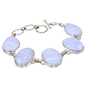 Chunky Blue Lace Agate Sterling Silver Bracelet