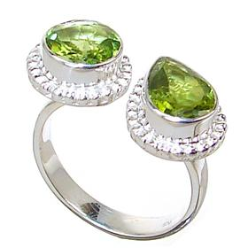 Chunky Peridot Sterling Silver Ring size N 1/2