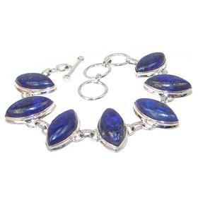 Glamorous Lapis Lazuli Sterling Silver Bracelet