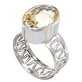 Artisan Citrine Sterling Silver Ring size R 1/2