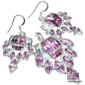 Incredible Cubic Zirconia Sterling Silver Set. Silver Gemstone Set.