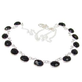 Elegant Onyx Sterling Silver Necklace 18 inches long