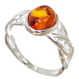Baltic Amber Sterling Silver Gemstone Ring size P