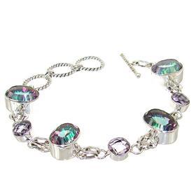 Chunky Mystic Quartz Sterling Silver Bracelet