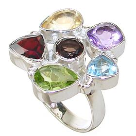 Magnificent Multigem Sterling Silver Ring Size L 1/2
