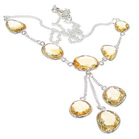 Elegant Citrine Sterling Silver Necklace 18 inches long