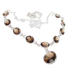 Charming Smoky Quartz Sterling Silver Necklace 18 inches long