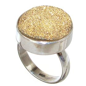 Fancy Golden Druzy Sterling Silver Ring size M 1/2