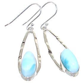 Large Larimar Sterling Silver Earrings