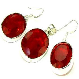Finest Quality Red Castylian Quartz Sterling Silver Set Jewellery.Silver Gemstone Set.