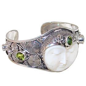Unique Chunky Peridot Sterling Silver Bracelet Bangle