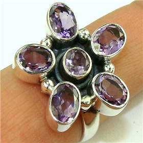 Amethyst Sterling  Silver Ring Jewellery.Silver Gemstone Ring.
