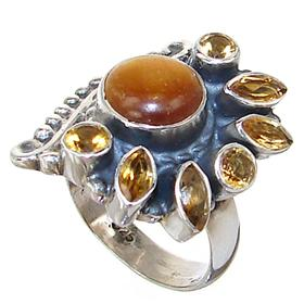 Chunky Artisan Citrine Sterling Silver Ring size P 1/2