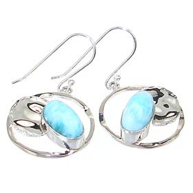 Designer Larimar Sterling Silver Earrings