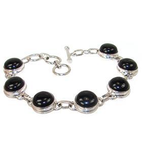 Chunky Black Onyx Sterling Silver Bracelet Jewellery