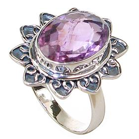 Royal Amethyst Sterling Silver Ring size S 1/2